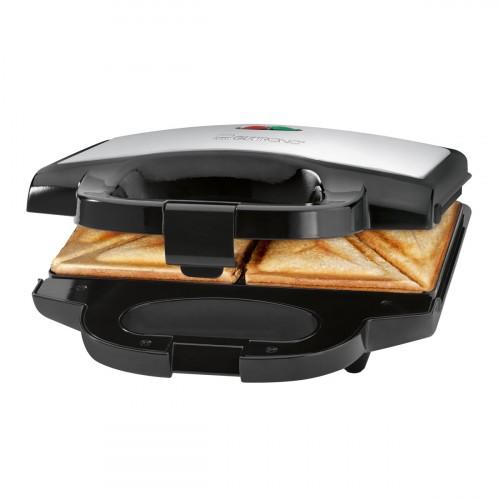 Clatronic Sandwichera ST 3628 Negra / Acero Inoxidable